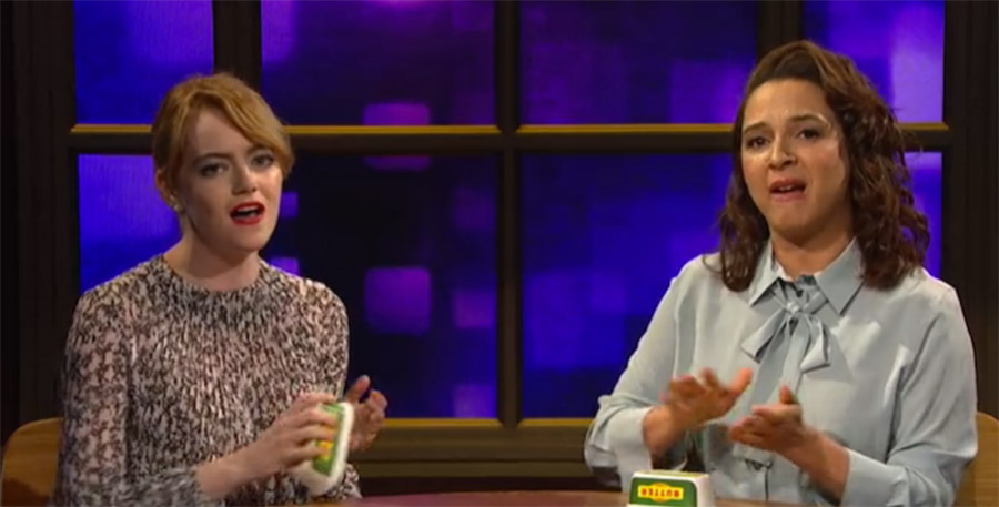 emma-stone-and-maya-rudolph-call-your-girlfriend-with-butter-tub-percussion